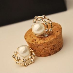 NEW gold plated faux pearl CZ swirl stud earrings